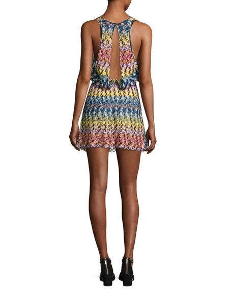 Pizzo Onda Multicolor V-Neck Coverup Dress, Multicolor