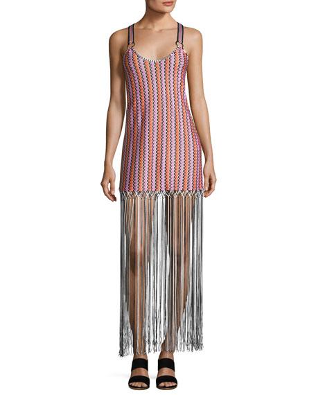 Grechina Tricolor Sport-Strap Long Fringe Dress, Multi