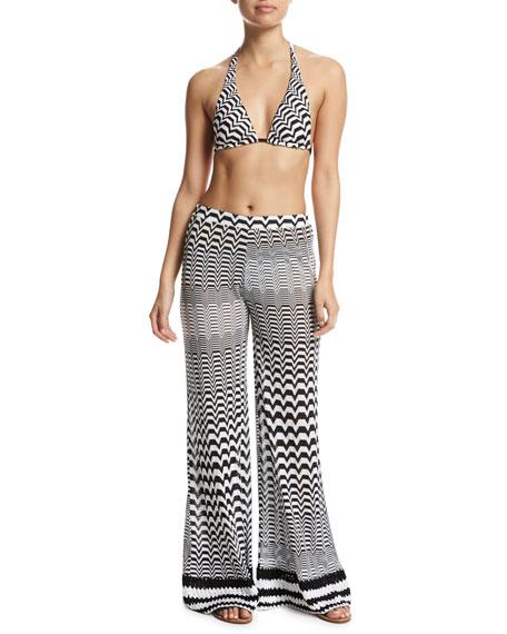 Greca Bicolor Coverup Pants, Multi
