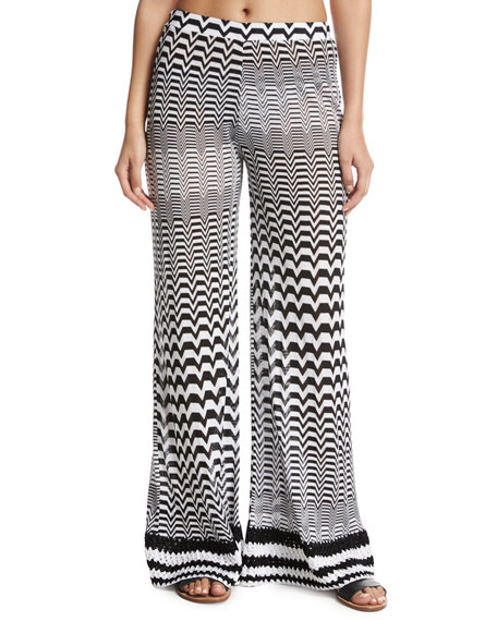 Greca Bicolor Coverup Pants, Multi