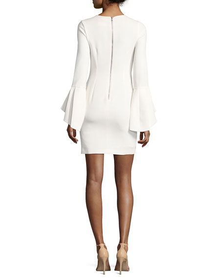 Dora Fitted Trumpet-Sleeve Cocktail Dress