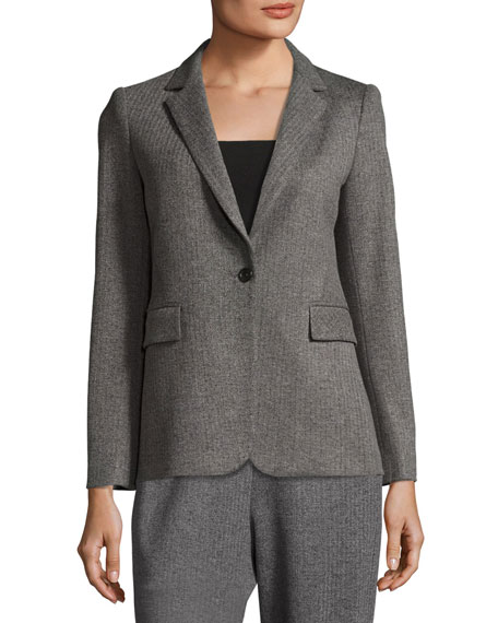 Macey Fitted Notch-Collar Blazer