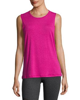 Twist Open-Back Muscle Tank Top, Pink