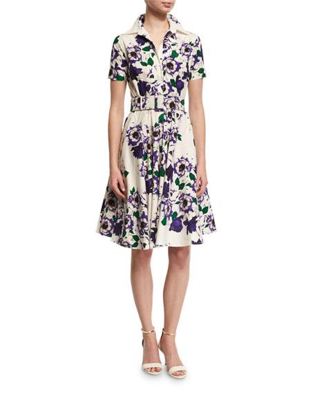 Gigi Short-Sleeve Floral-Print Shirtdress, Purple