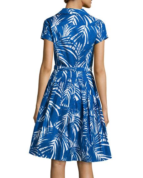 Claire Palm-Print Short-Sleeve Shirtdress, Blue