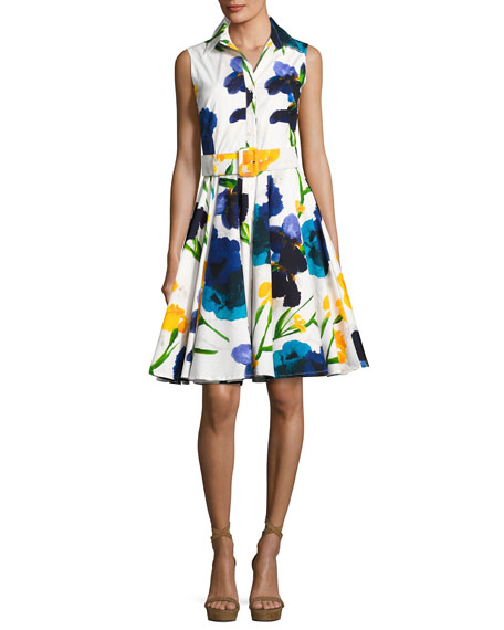 Gigi Pansy-Print Sleeveless Shirtdress, Blue/White