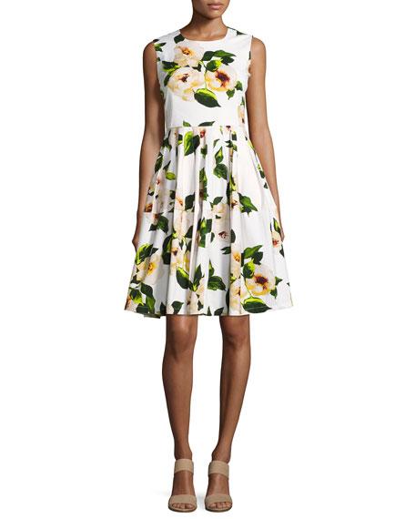 Rachel Sleeveless Rose-Print Dress, White