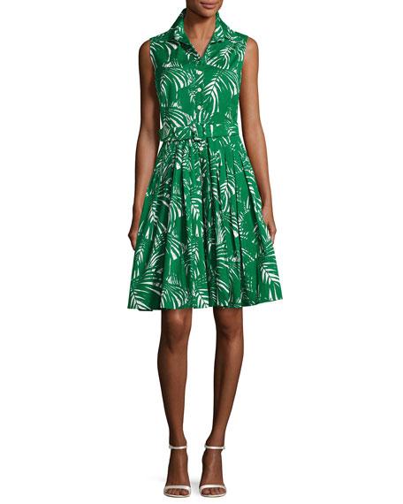 Samantha Sung Audrey Palm-Print Sleeveless Shirtdress, Green