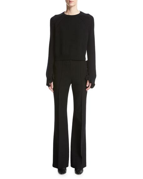 High-Waist Pintuck Flared Pants, Black