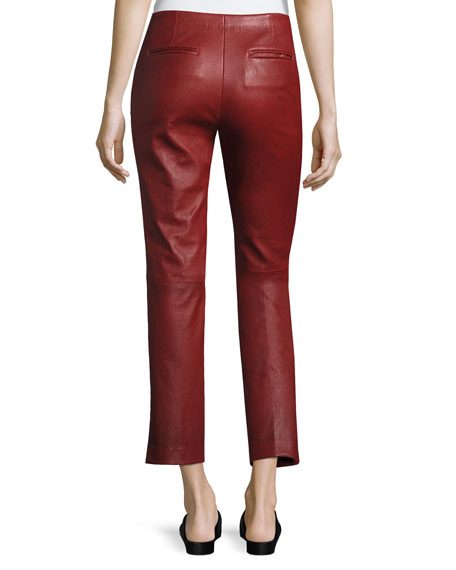 Straight Cropped Leather Pants, Ruby