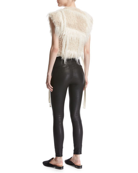 Two-Tone Faux-Fur Vest, Cream