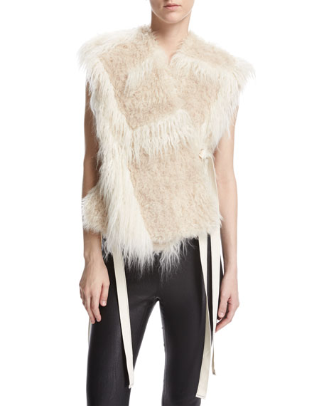 Helmut Lang Two-Tone Faux-Fur Vest, Cream