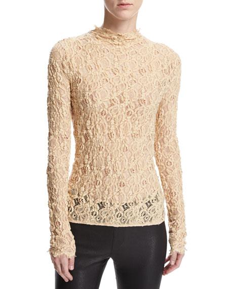 Long-Sleeve Embossed Lace Top, Brown