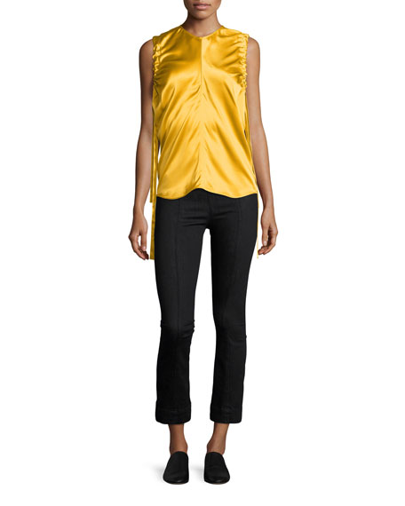 Ruched Armhole Sateen Silk Tank, Yellow