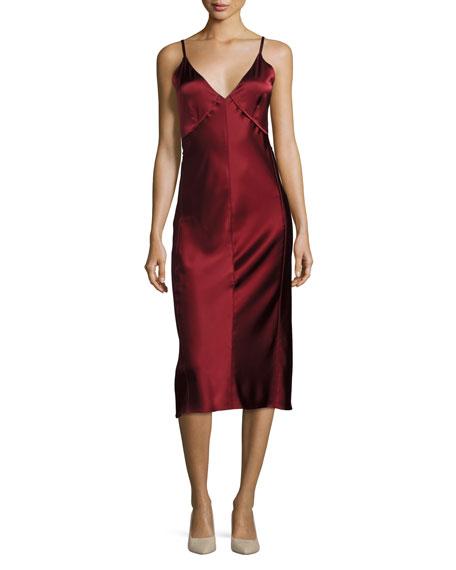 V Neck Sateen Slip Midi Dress, Red