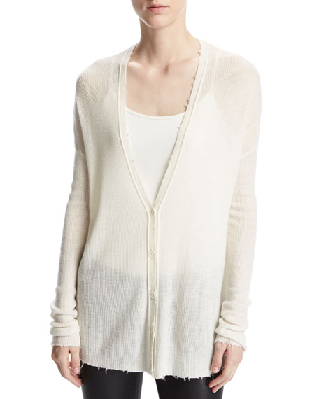 Lightweight Frayed Wool Cardigan, White