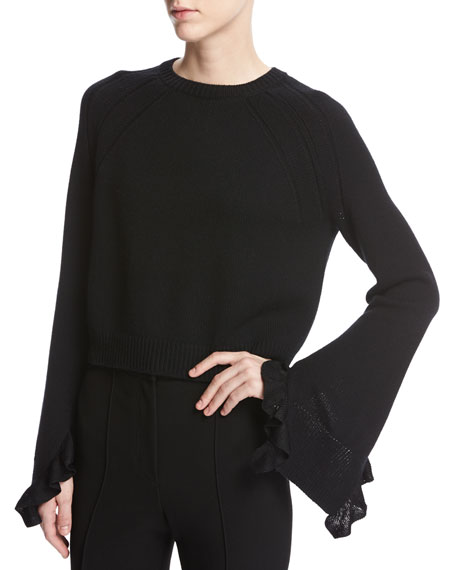 Helmut Lang cropped ruffled blouse Geniue Stockist For Sale Clearance Store Cheap Price Discounts Online Stockist Online 1An5Q9