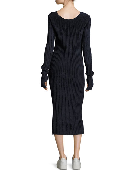 Velveteen Scoop-Neck Long-Sleeve Midi Dress, Navy