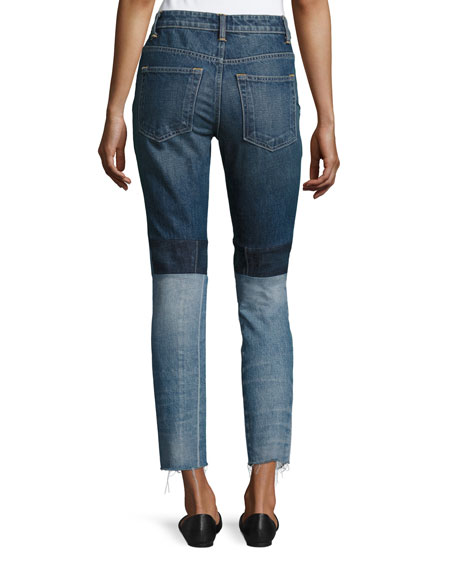 Patchwork High-Rise Crop Slim Jeans, Blue