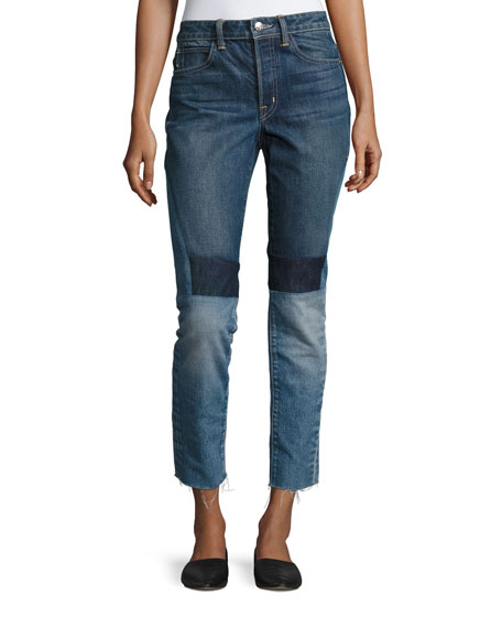 Helmut Lang Patchwork High-Rise Crop Slim Jeans, Blue