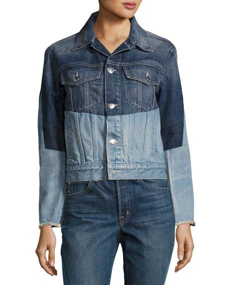 Patchwork Two-Tone Denim Jacket, Blue