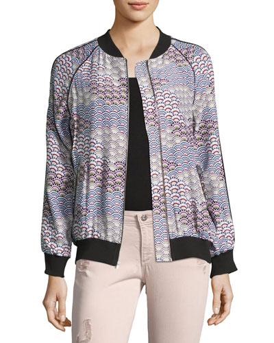 Kendrix Silk Bomber Jacket, White Pattern