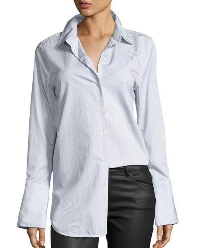 Arlette Narrow-Striped Poplin Shirt, Multi Pattern