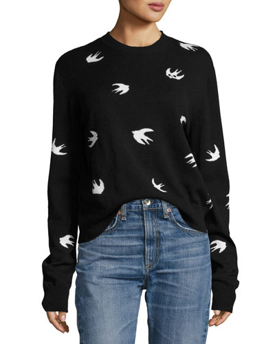 All Over Swallow Crewneck Sweatshirt, Black