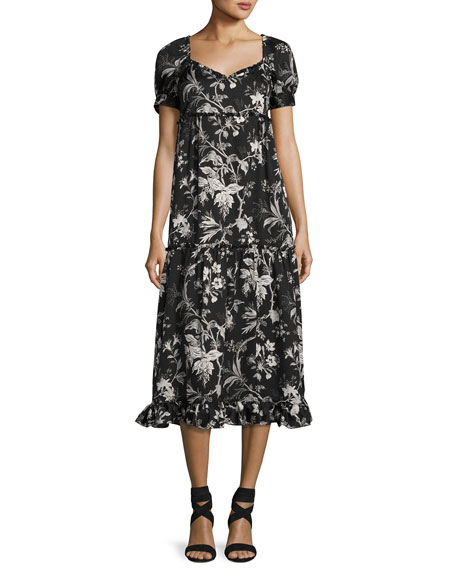 Ruffle Floral-Print Négligée Dress, Black