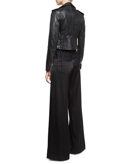 Leather Moto Lace-Up Jacket, Black