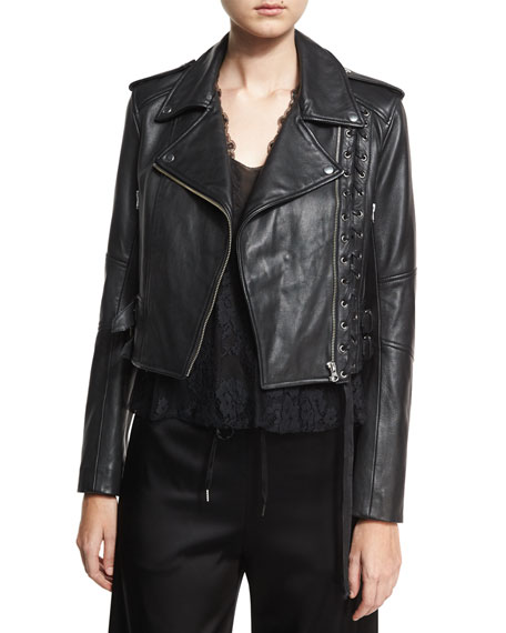 McQ Alexander McQueen Leather Moto Lace-Up Jacket, Black
