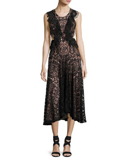 Aldridge Lace Midi Dress, Black