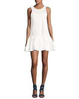 Alexia Sleeveless Knot-Back Mini Dress, White