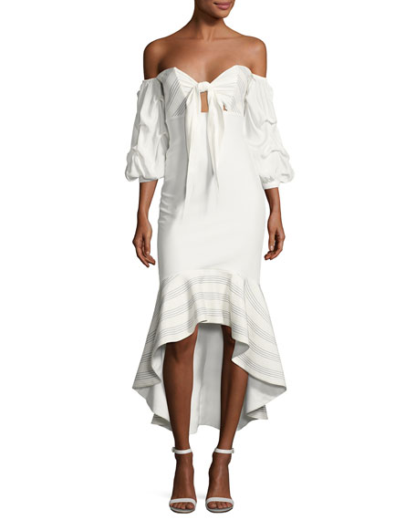 Alexis Zuki High-Low Off-the-Shoulder Dress, White