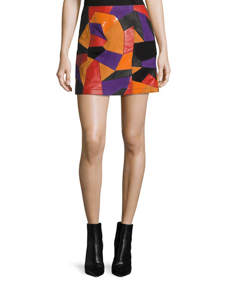 McQ Alexander McQueen Patch-Cut Colorblocked Leather Skirt, Multi
