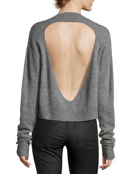 Cutout-Back V Neck Sweater, Gray