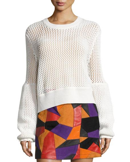 Mesh Knit Crewneck Sweater, Ivory
