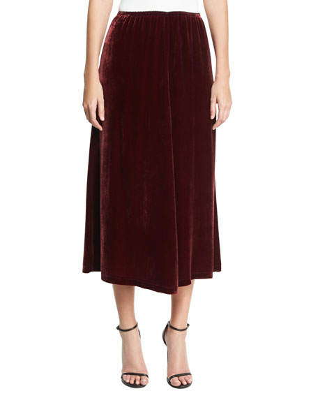 Velvet Fluid A-Line Skirt, Wine