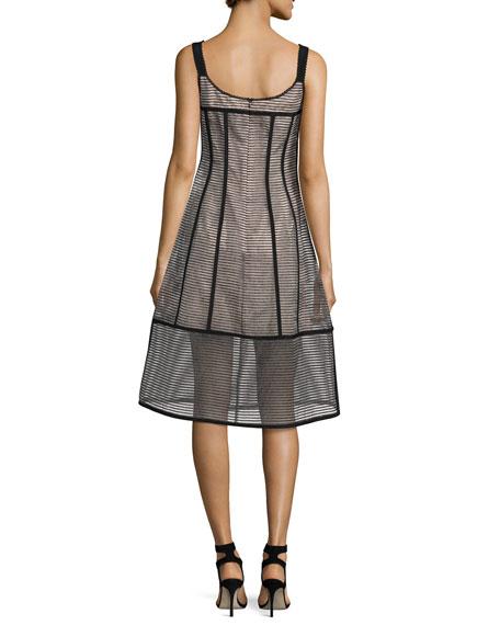 Sail Away Sleeveless Structured Mesh Stripe Dress, Black