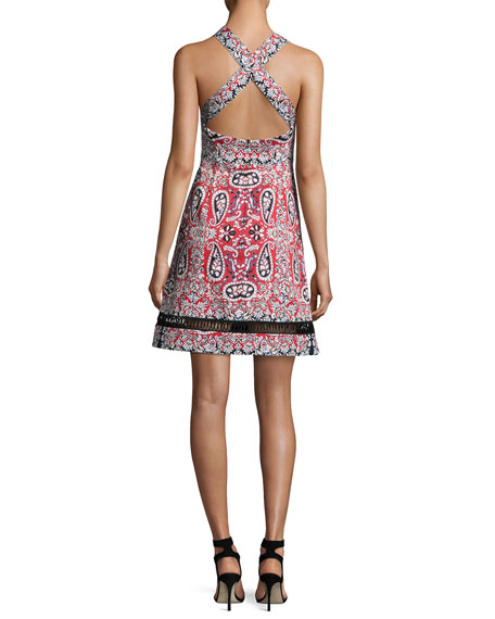 Overboard Paisley Cross-Back Dress, Red/Multicolor