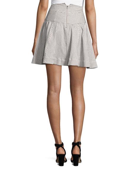 Seaspray Striped Corset Skirt, Cream/Indigo