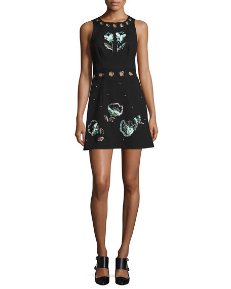 Beach Party Sleeveless Embellished Jacquard Mini Dress, Black