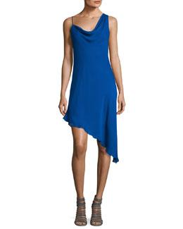 Audrey Cowl-Neck Silk Mini Dress, Blue
