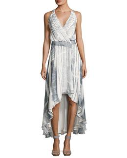Meet Me Tonight High-Low Silk Dress, Multi
