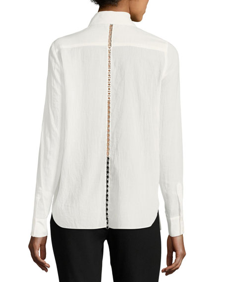 Collared Long-Sleeve Chain Husband Blouse