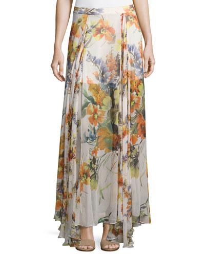 Chance Floral-Print Silk Maxi Skirt  Multi