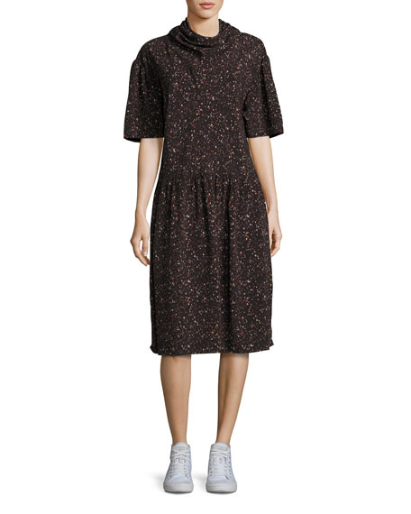 Public School Kalei Mock-Neck Printed Midi Dress, Black