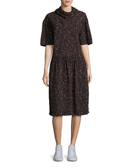 Kalei Mock-Neck Printed Midi Dress, Black