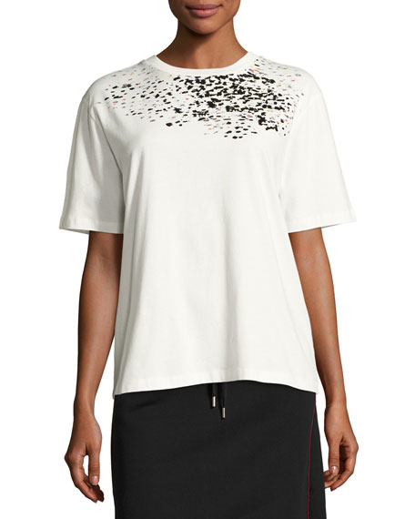 Adara Crewneck Cotton T-Shirt, Off-White
