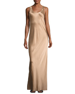 Bias-Seam Sateen Maxi Dress, Camel